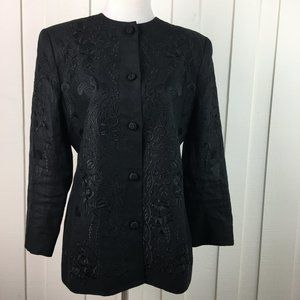 Carlisle Black Embroidered Linen Blazer Size L